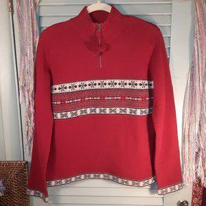 Eddie Bauer wool 1/4 zip ski lodge sweater sz S